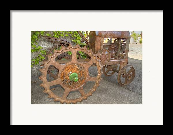 Tractor Framed Print featuring the photograph Green Axle by Jean Noren