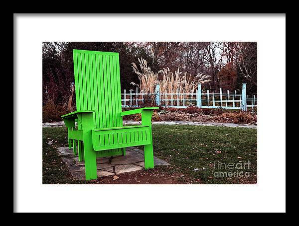 Green Chair Framed Print featuring the photograph Green Chair by John Rizzuto