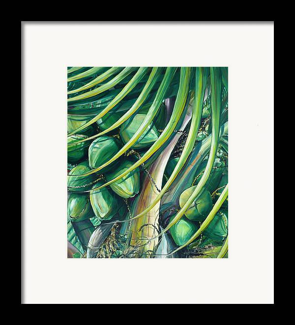 Coconut Painting Caribbean Painting Coconuts Caribbean Tropical Painting Palm Tree Painting  Green Botanical Painting Green Painting Framed Print featuring the painting Green Coconuts 2 by Karin Dawn Kelshall- Best
