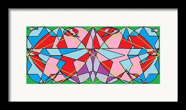 Diamond Framed Print featuring the digital art Green Diamond by Rachael McIntosh