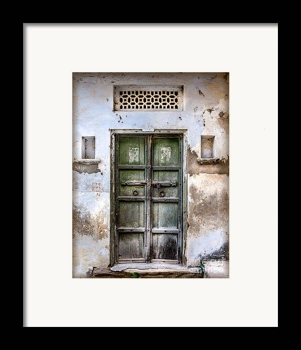 India Framed Print featuring the photograph Green Door by Catherine Arnas