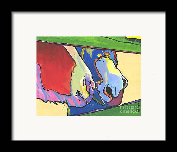 Pat Saunders-white Canvas Prints Framed Print featuring the painting Green Fence by Pat Saunders-White