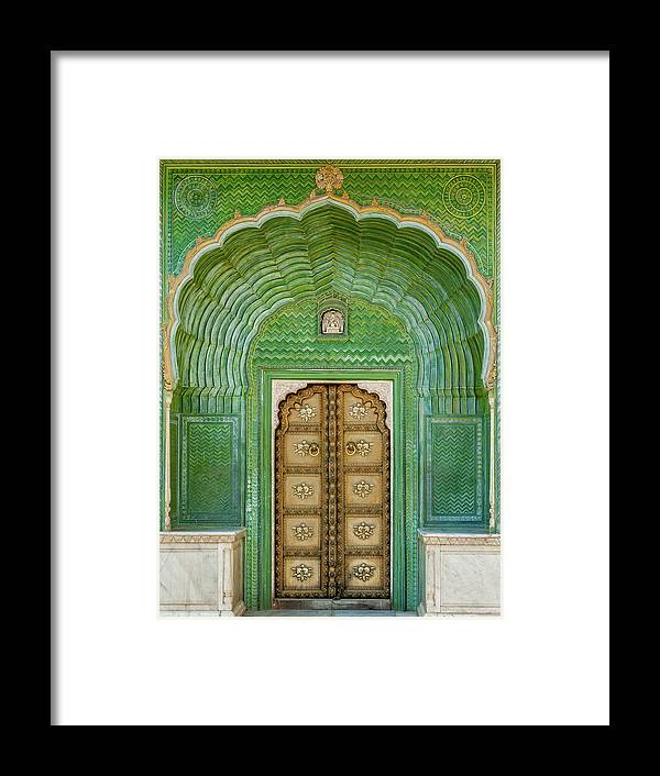 Arch Framed Print featuring the photograph Green Gate In Pitam Niwas Chowk by Hakat