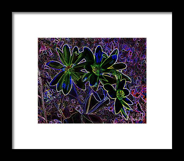 Electric Flowers Framed Print featuring the photograph Green Glow by Mike Flake
