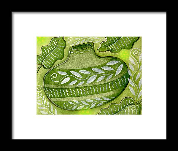 Leaves Framed Print featuring the mixed media Green Gourd by Elaine Jackson