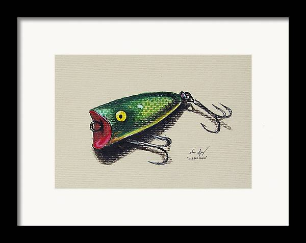 Fish Framed Print featuring the painting Green Lure by Aaron Spong
