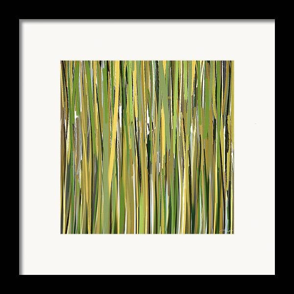 Green Framed Print featuring the painting Green Melodies by Lourry Legarde
