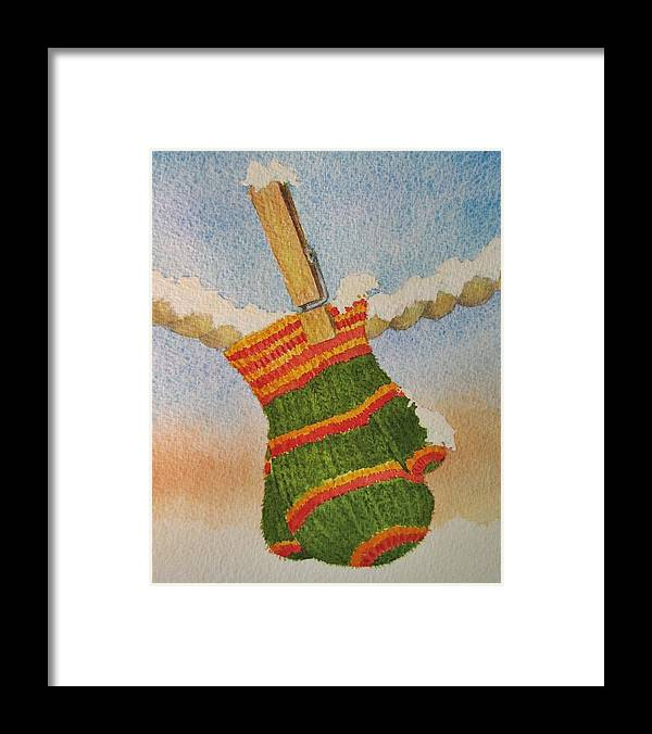Children Framed Print featuring the painting Green Mittens by Mary Ellen Mueller Legault