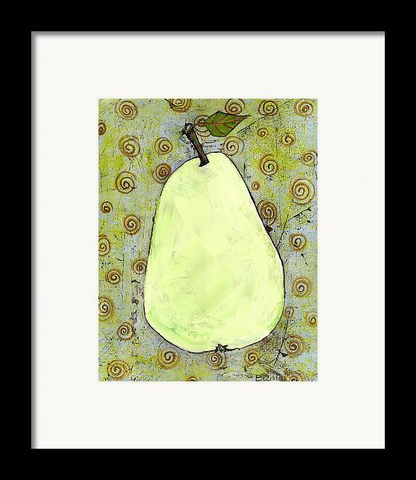 Art Framed Print featuring the painting Green Pear Art With Swirls by Blenda Studio