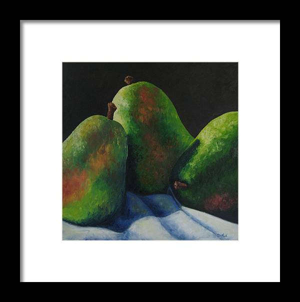 Pears Framed Print featuring the painting Green Pears With Shadows Cast by Darla Brock