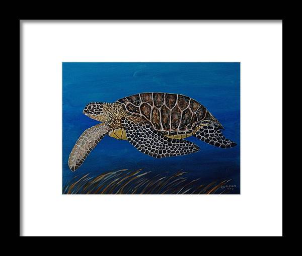Turtle Framed Print featuring the painting Green Sea Turtle by Richard Goohs