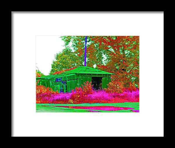 Landscape Framed Print featuring the digital art Green Shack Day by Joseph Wiegand