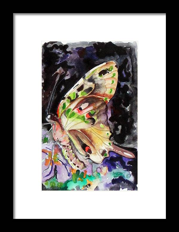 Green Spotted Triangle Framed Print featuring the painting Green Spotted Triangle by Deana Harvey
