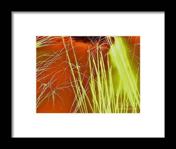 Fireworks Framed Print featuring the photograph Green Streak by Heather White