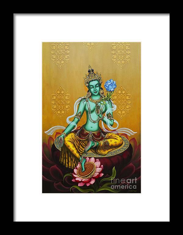 Green Framed Print featuring the painting Green Tara by Yuliya Glavnaya