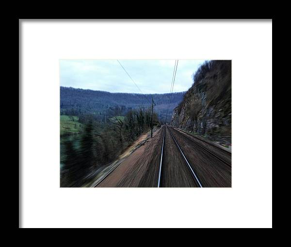 Railroad Track Framed Print featuring the photograph Green Travel by Lazypixel / Brunner Sébastien