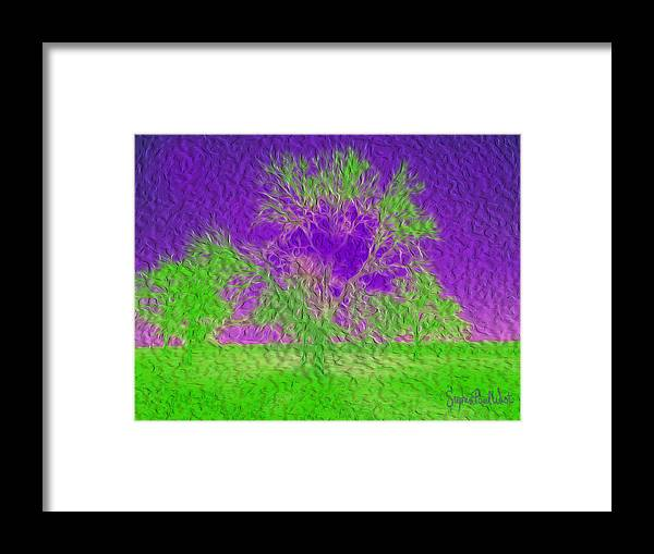 Green Framed Print featuring the photograph Green Tree And Purple Sky by Stephen Paul West