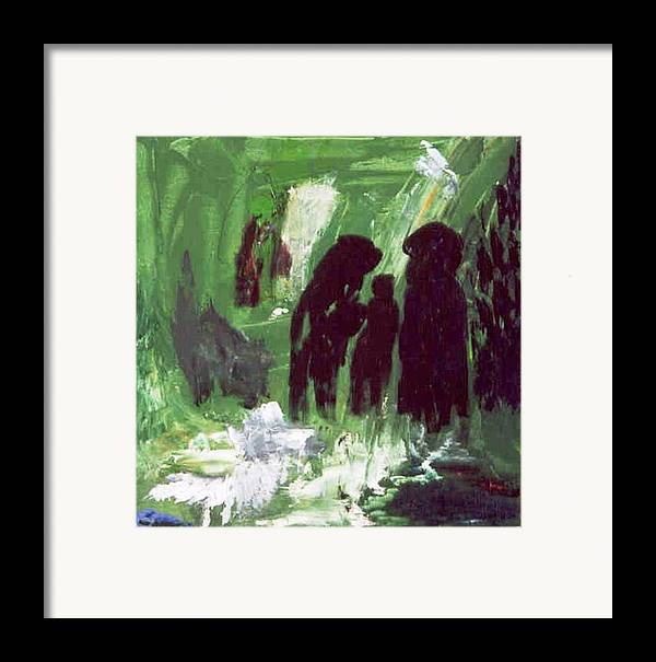Abstract Framed Print featuring the painting Green Water Rite by Bruce Combs - REACH BEYOND