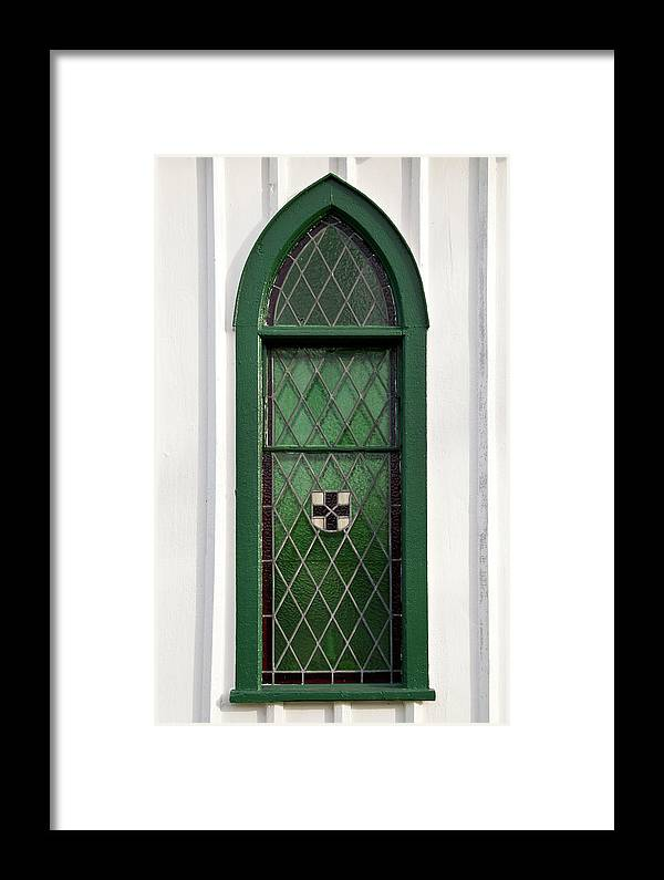 Balls Falls Church Framed Print featuring the photograph Green Window by Guy Whiteley