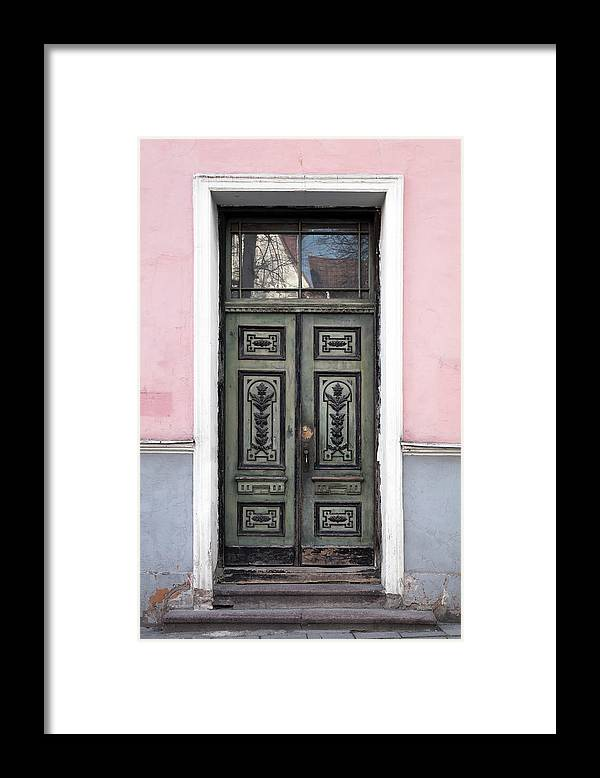 Rectangle Framed Print featuring the photograph Green Wooden Door In Old Building by Eugenesergeev