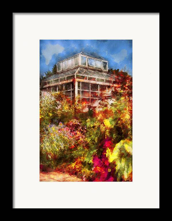 Savad Framed Print featuring the digital art Greenhouse - The Greenhouse And The Garden by Mike Savad