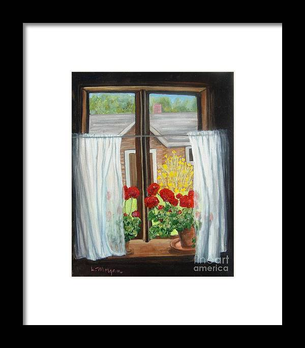 Windows Framed Print featuring the painting Greet The Day by Laurie Morgan