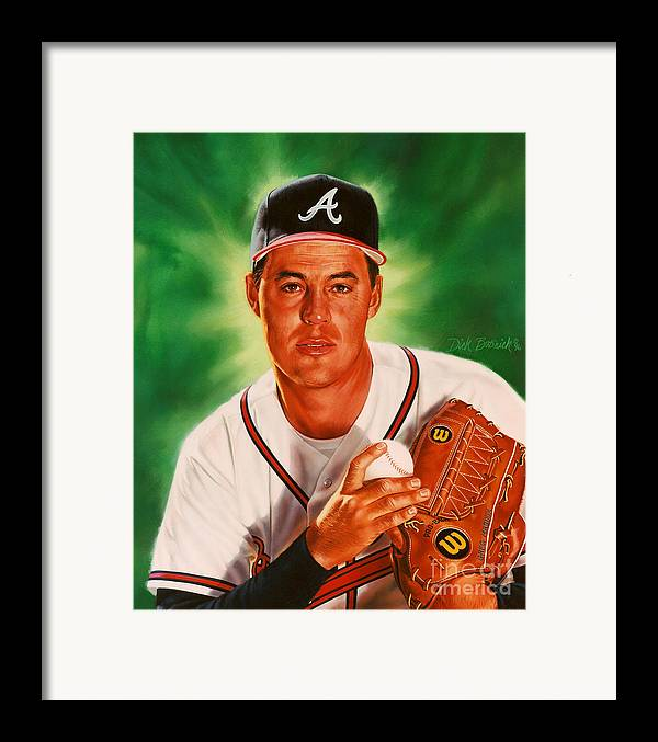 Sports Framed Print featuring the painting Greg Maddux by Dick Bobnick