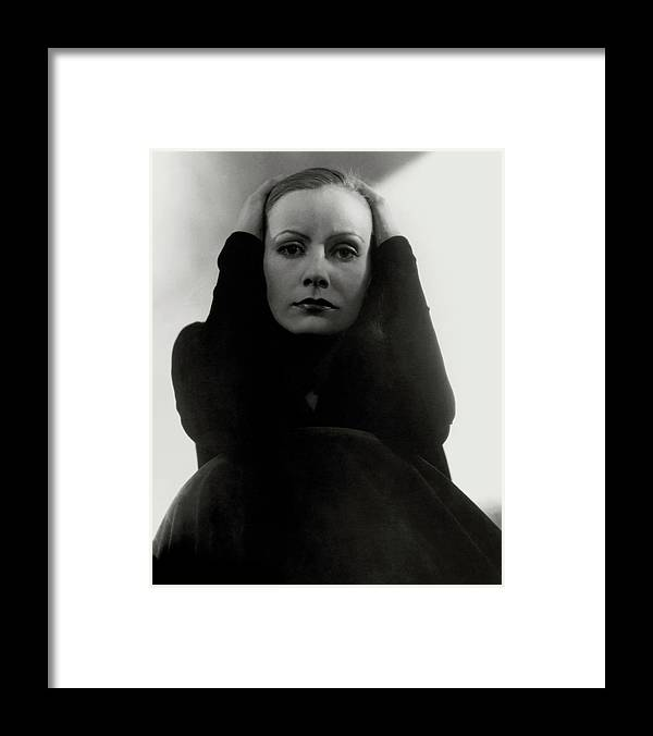 Actress Framed Print featuring the photograph Greta Garbo Wearing A Black Dress by Edward Steichen