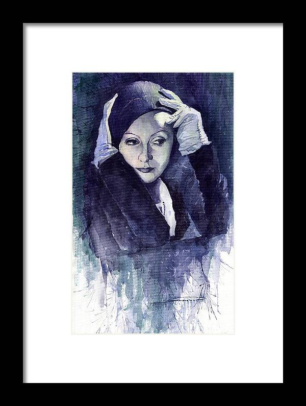 Watercolour Framed Print featuring the painting Greta Garbo by Yuriy Shevchuk