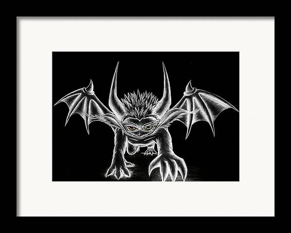 Demon Framed Print featuring the painting Grevil Chalk by Shawn Dall