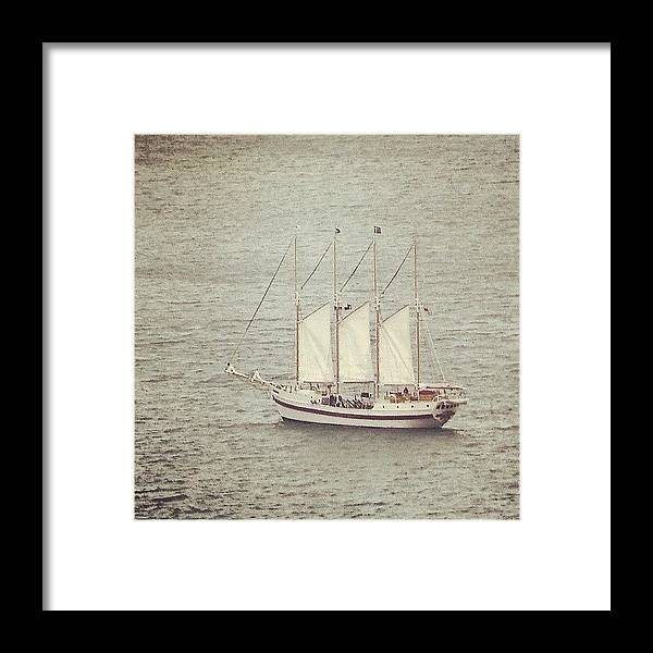 Ship Framed Print featuring the photograph Gray Day And A Tall Ship by Jill Tuinier