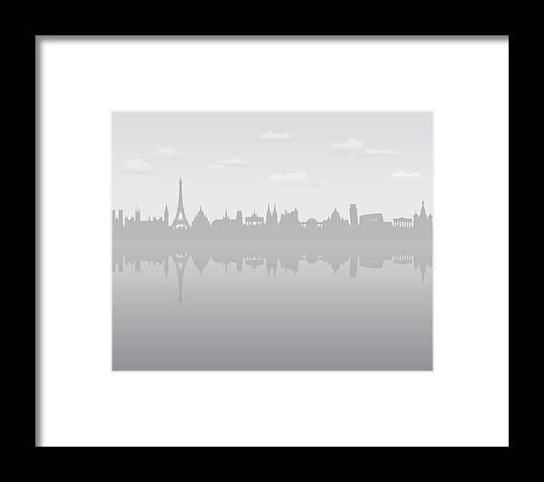 Clock Tower Framed Print featuring the digital art Grey Europe by Leontura