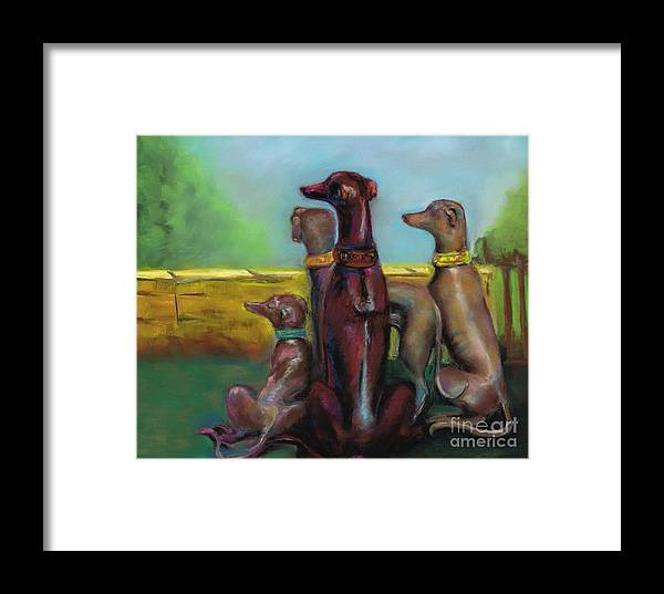 Greyhound Framed Print featuring the painting Greyhound Figurines by Frances Marino