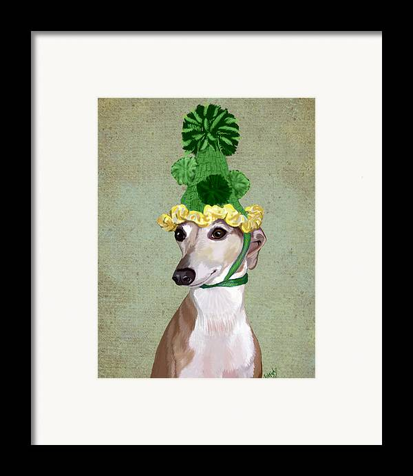 Greyhound Framed Prints Framed Print featuring the digital art Greyhound Green Bobble Hat by Kelly McLaughlan