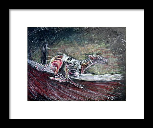 Dog Framed Print featuring the drawing Greyhound Number Three by Tom Conway