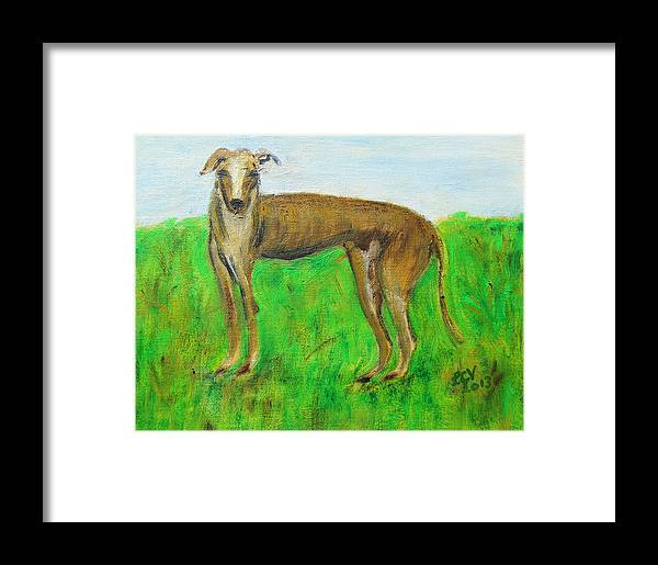 Greyhound Framed Print featuring the painting Greyhound Posing by Lucille Valentino