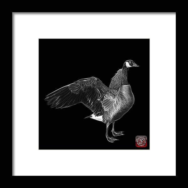 Canada Goose Framed Print featuring the mixed media Greyscale Canada Goose Pop Art - 7585 - Bb by James Ahn