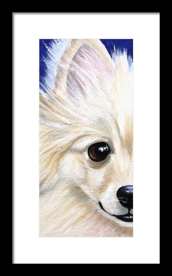 Pomeranian Framed Print featuring the painting Grinning Pom by Debbie Finley
