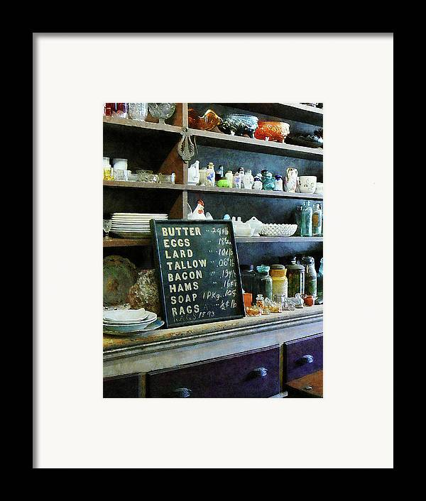 Store Framed Print featuring the photograph Groceries In General Store by Susan Savad