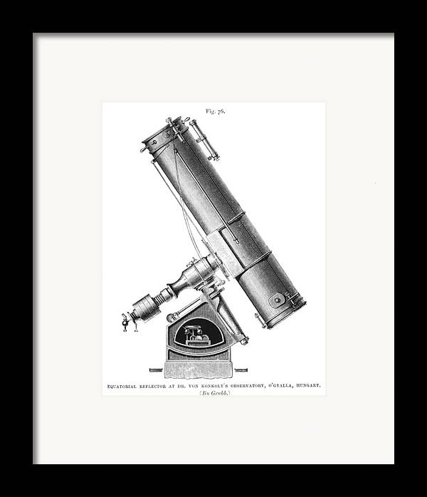 Equipment Framed Print featuring the photograph Grubb Equatorial Telescope, Hungary by Science Photo Library