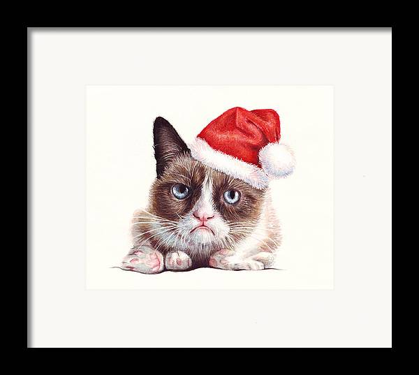 Grumpy Framed Print featuring the painting Grumpy Cat As Santa by Olga Shvartsur