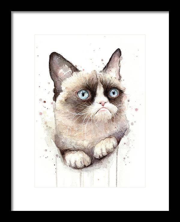 Grumpy Cat Watercolor by Olga Shvartsur