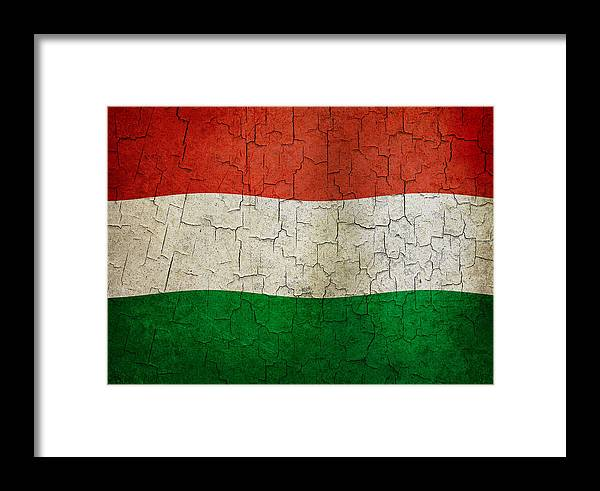 Aged Framed Print featuring the digital art Grunge Hungary Flag by Steve Ball