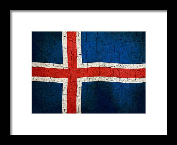 Aged Framed Print featuring the digital art Grunge Iceland Flag by Steve Ball