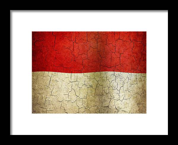 Aged Framed Print featuring the digital art Grunge Indonesia Flag by Steve Ball