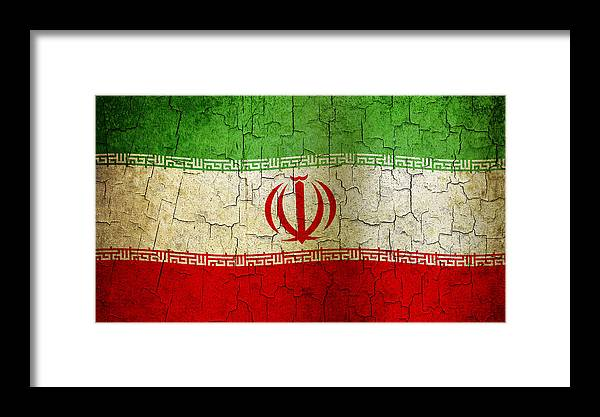 Aged Framed Print featuring the digital art Grunge Iran Flag by Steve Ball