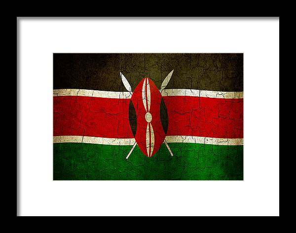 Aged Framed Print featuring the digital art Grunge Kenya Flag by Steve Ball