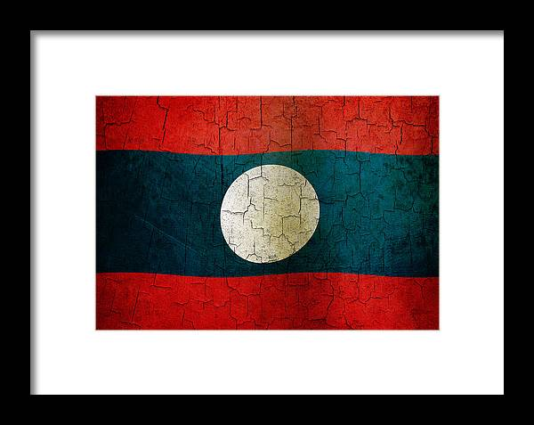Aged Framed Print featuring the digital art Grunge Laos Flag by Steve Ball