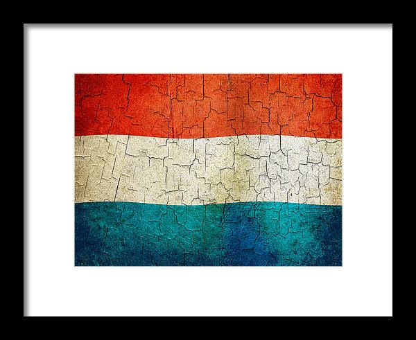 Aged Framed Print featuring the digital art Grunge Luxembourg Flag by Steve Ball