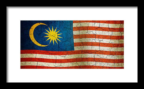 Aged Framed Print featuring the digital art Grunge Malasia Flag by Steve Ball